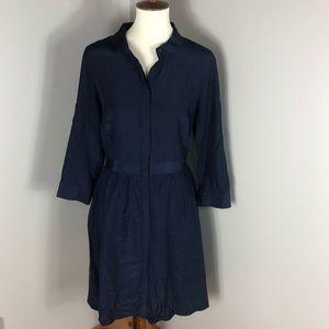 Large Button Up Navy Blue Shirt Dress
